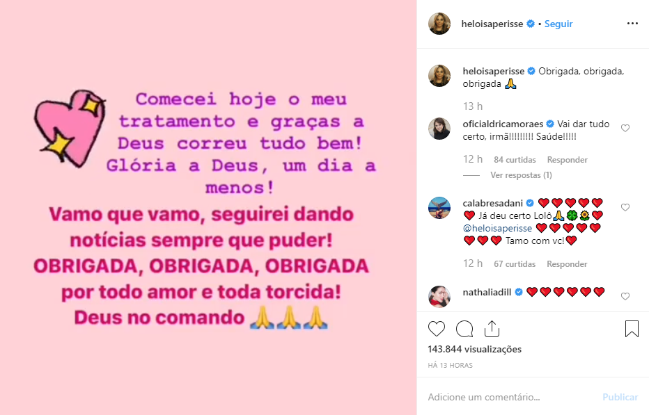 """Heloísa Périssé desabafa após iniciar tratamento contra câncer: """"Um dia a menos"""""""
