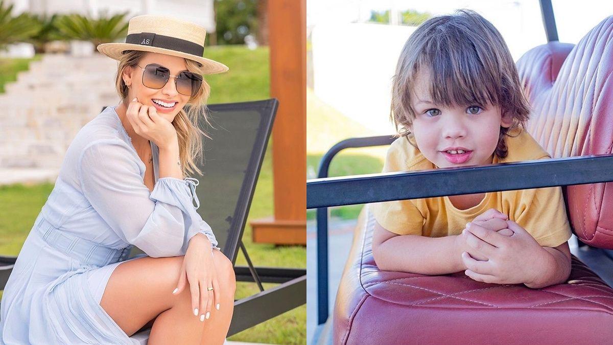 """Após passeio na fazenda, Andressa Suita publica fotos do filho Gabriel e fã observa: """"A cara da mamãe"""""""