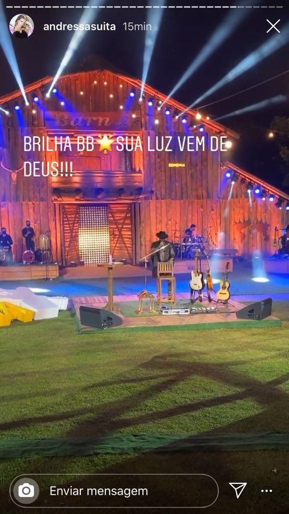 """No início da live, Andressa Suita faz declaração para Gusttavo Lima: """"Sua luz vem de Deus"""""""