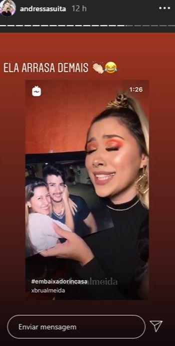 """Andressa Suita mostra blogueira dançando com foto de Gusttavo Lima: """"Ela arrasa demais"""""""