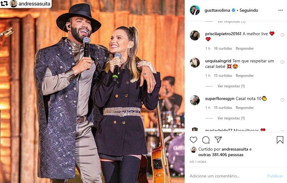 """Gusttavo Lima posta registro com Andressa Suita na live e fã comenta: """"Tem que respeitar um casal"""""""