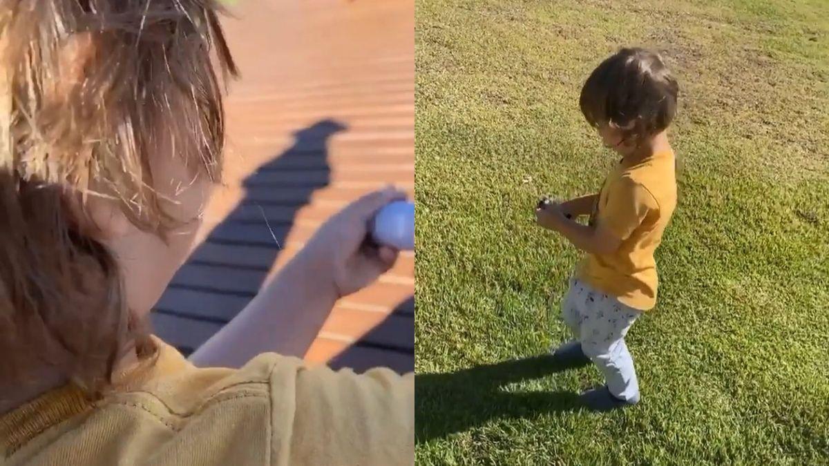 Sábado em família! Gusttavo Lima surge ensinando o filho Gabriel a soltar pipa na fazenda em Goiânia