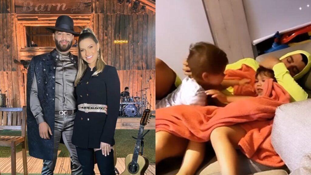 """Andressa Suita filma momento fofo de Gusttavo Lima com filhos e comenta: """"Grudinhos"""""""