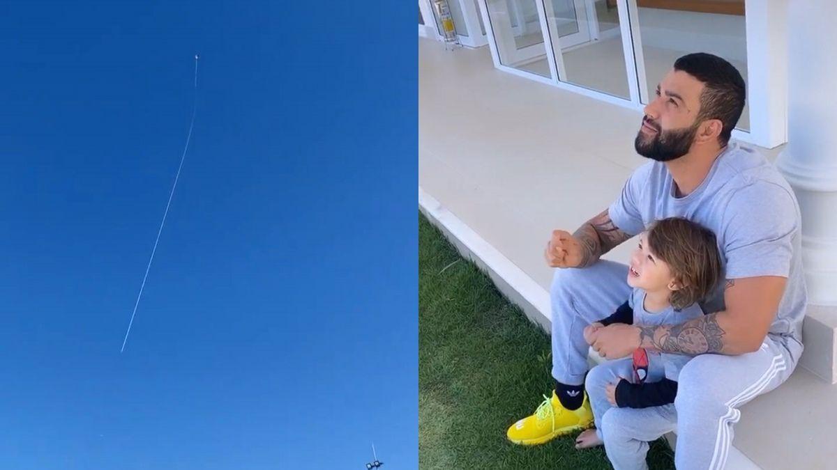 """Após críticas por pescaria com Leonardo, Gusttavo Lima empina pipa com filho e brinca: """"Sobe bebê"""""""
