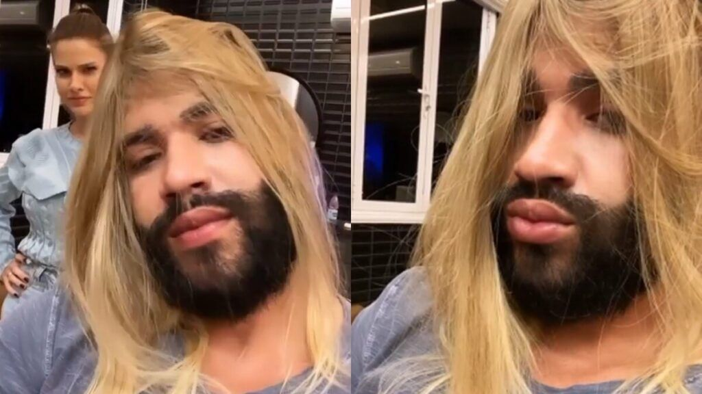 Gusttavo Lima surge de cabelo loiro ao lado da esposa e intriga os fãs