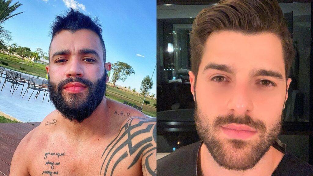 """Em selfie na fazenda, Gusttavo Lima mostra os músculos e ganha elogio de Alok: """"Tá forte hein"""""""