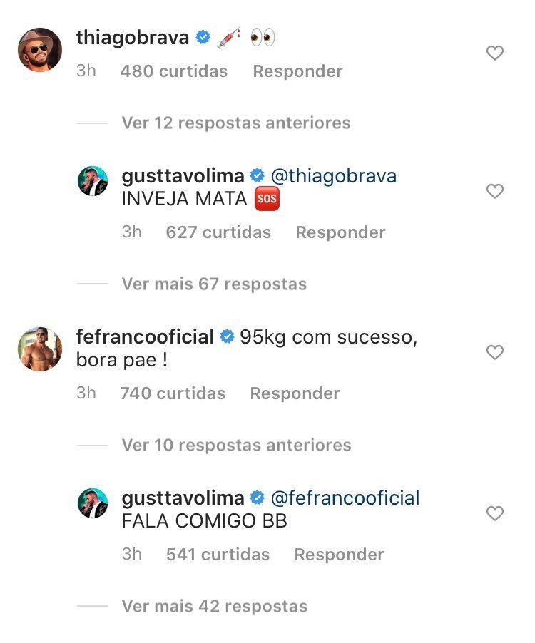 "Gusttavo Lima rebate Thiago Brava após sertanejo acusá-lo de usar anabolizantes: ""Inveja mata"""