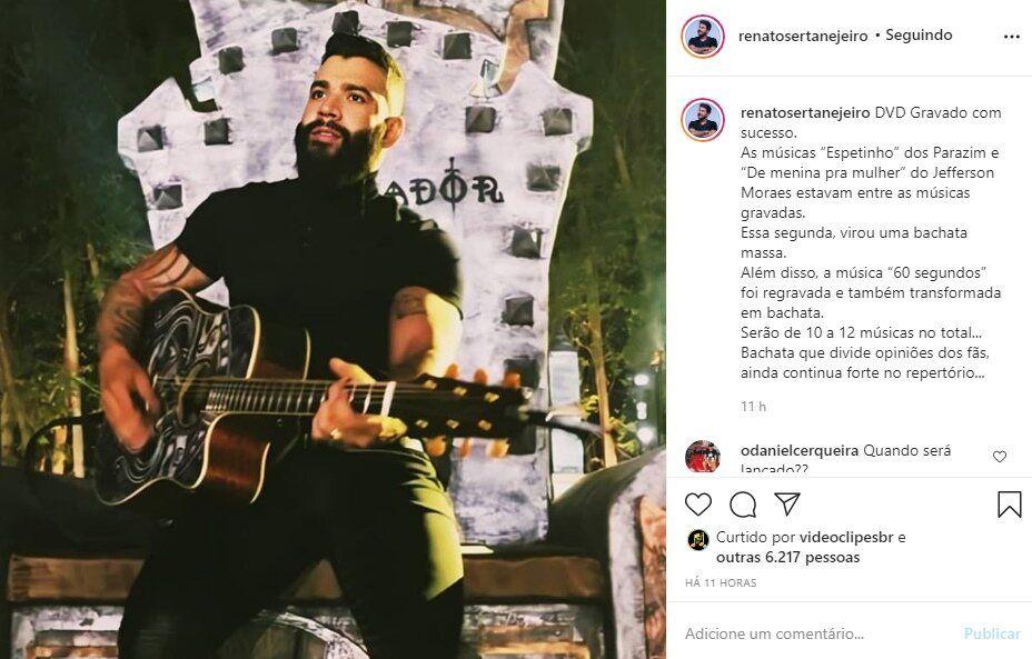 """Famoso youtuber entrega detalhes do novo DVD de Gusttavo Lima: """"Serão 10 a 12 músicas no total"""""""