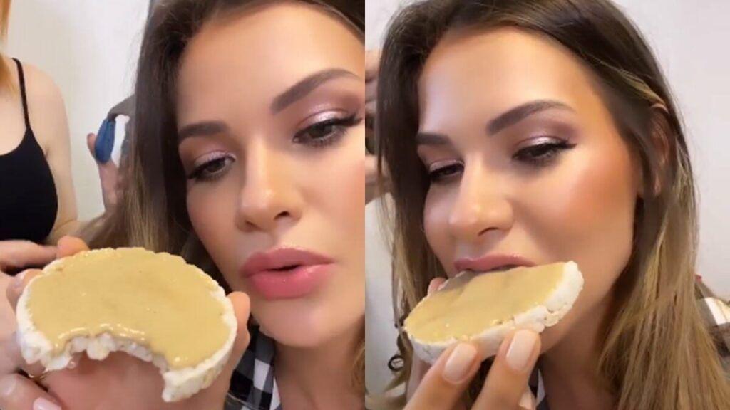 De dieta, Andressa Suita come pasta de amendoim antes de live de Gusttavo Lima em Pernambuco