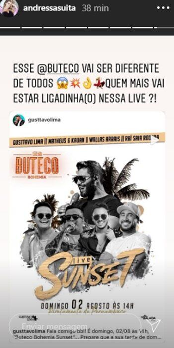 """Faltando poucas horas,  Andressa Suita fala sobre 'Buteco Sunset' de Gusttavo Lima: """"Vai ser diferente"""""""