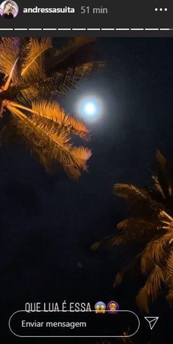 """""""Que lua é essa"""", diz Andressa Suita em noite antes da live de Gusttavo Lima em Pernambuco"""