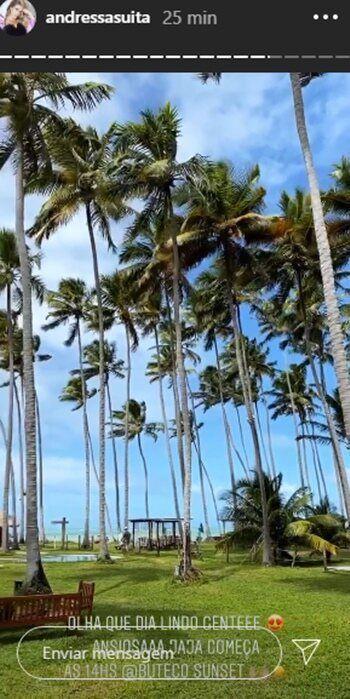 """Andressa Suita mostra praia paradisíaca antes da live de Gusttavo Lima: """"Que dia lindo"""""""