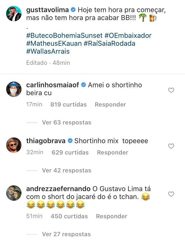 "Carlinhos Maia descreve short de Gusttavo Lima no 'Buteco Sunset' do nordeste: ""Shortinho beira c..."""