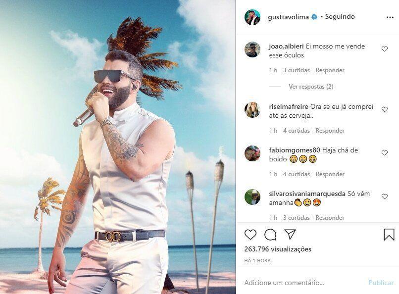 """Gusttavo Lima questiona os fãs sobre ansiedade para live show e seguidora revela: """"Já comprei até a cerveja"""""""