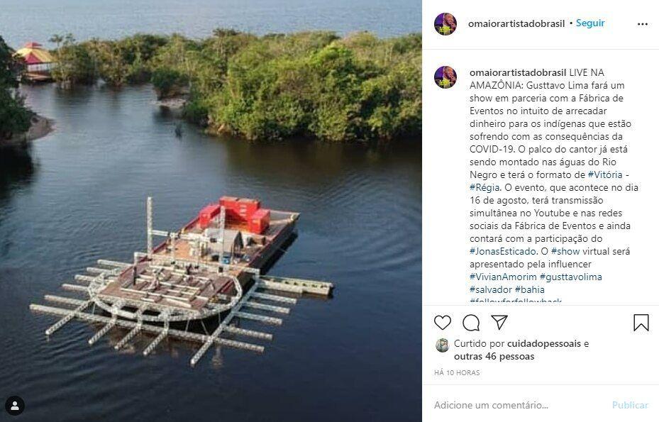 Estrutura de palco para a live show de Gusttavo Lima e Jonas Esticado já está sendo montada na Amazônia