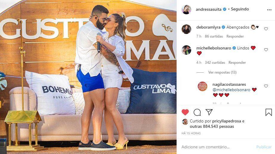 "Primeira-dama Michelle Bolsonaro comenta foto de Andressa Suita com Gusttavo Lima: ""Lindos"""