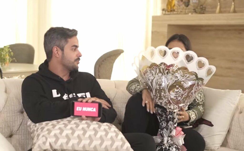 Simone mostra reação do marido ao descobrir que ela ganhou flores de outro homem