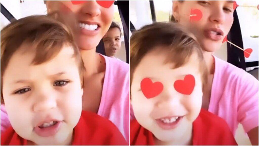 Andressa Suita canta com os filhos e a sobrinha durante passeio de carro na fazenda em Goiânia