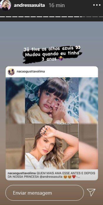 """Andressa Suita surpreende com revelação sobre olhos azuis: """"Mudou quando eu tinha 3 anos"""""""