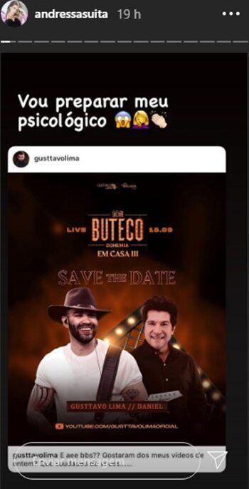 """Gusttavo Lima convida os fãs para live com Daniel em casa e esposa brinca: """"Preparar o meu psicológico"""""""