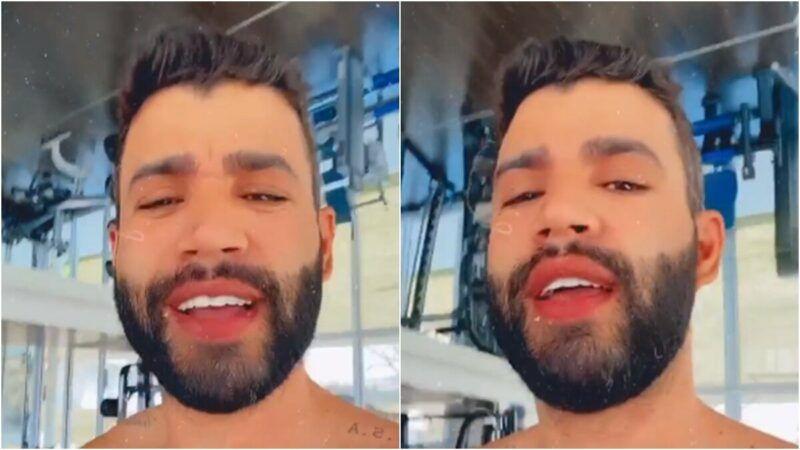 Gusttavo Lima treina na academia da fazenda enquanto escuta 'De Menina Pra Mulher'