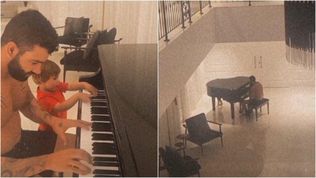 """Em salão enorme, Gusttavo Lima dá aula de piano para os filhos e esposa brinca: """"Papel e caneta na mão"""""""