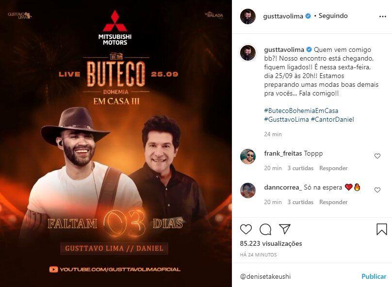 """Gusttavo Lima reforça convite para live com Daniel e avisa: """"Preparando umas modas boas demais"""""""