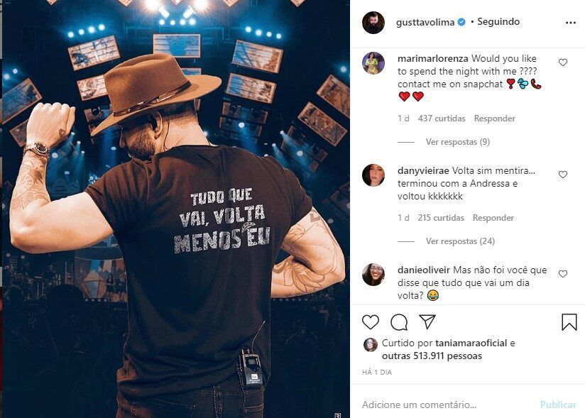 Internauta lembra da separação de Gusttavo Lima e Andressa Suita após reflexão do cantor