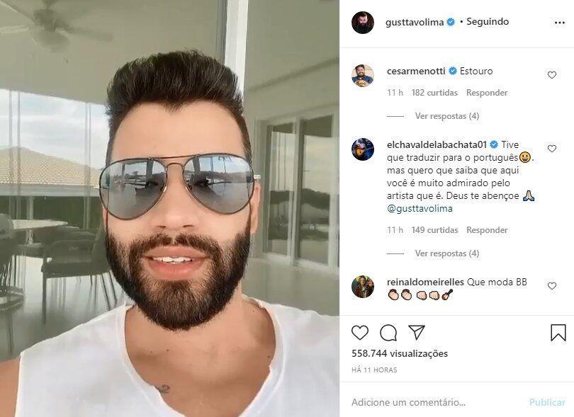 """Cantor internacional enche a bola de Gusttavo Lima após lançamento de música: """"Você é muito admirado"""""""