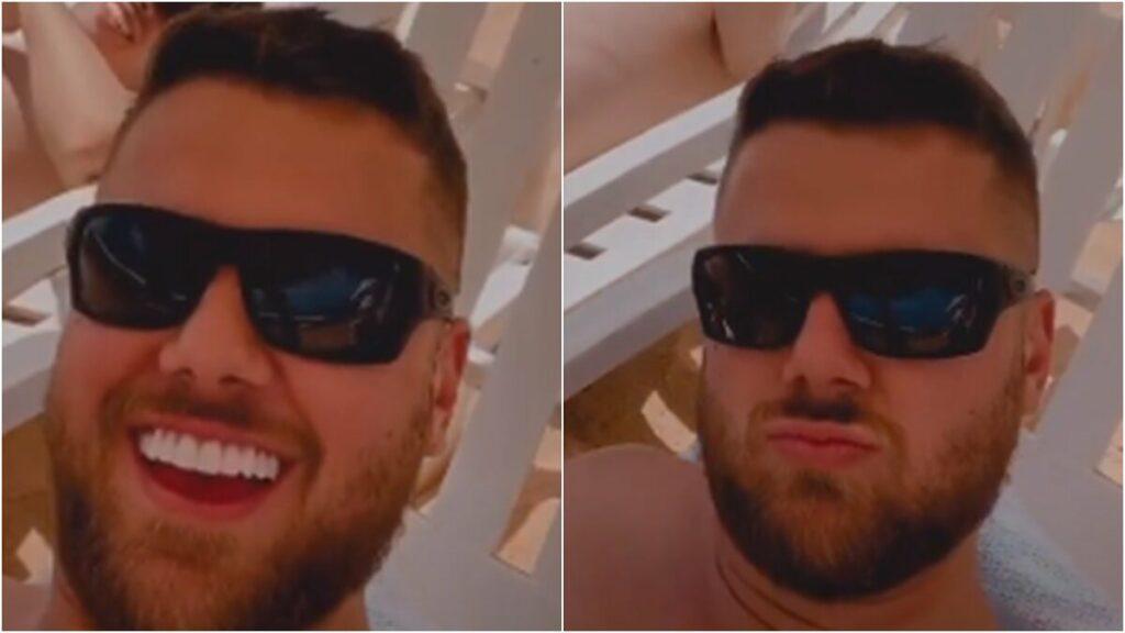 """Após foto viralizar, Zé Neto aparece novamente de sunga e brinca: """"Pensa num sol que vai se esconder"""""""