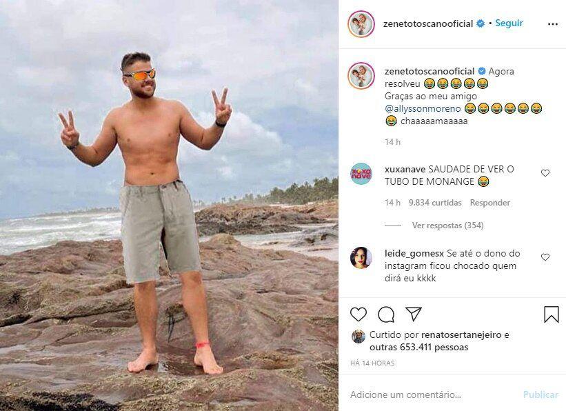"""Após polêmica com foto de sunga, Zé Neto aparece de calção e brinca: """"Agora resolveu"""""""