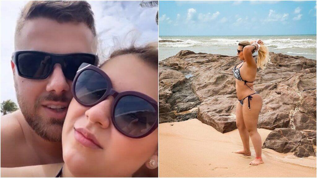 """Zé Neto aparece de sunga com a esposa na Bahia e fãs ficam em choque: """"Nem precisa de zoom"""""""