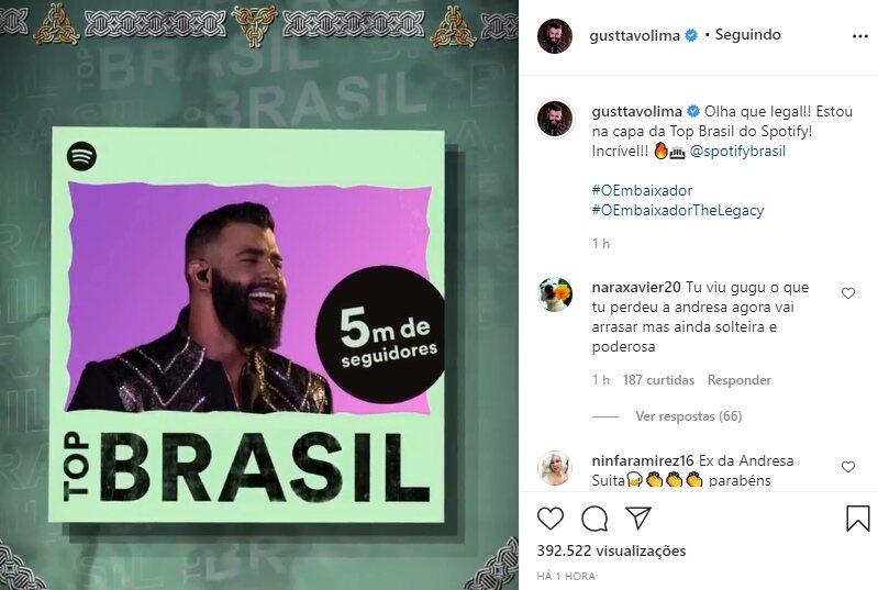 "Gusttavo Lima celebra conquista e seguidores alfinetam: ""Ex da Andressa Suita"""