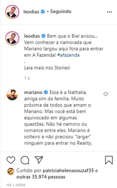 A Fazenda 12: Mariano 'largou' namorada para entrar no reality, diz colunista