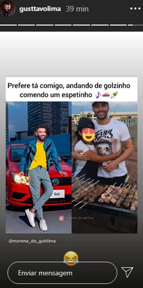 Fã clube mostra Gusttavo Lima 'comendo espetinho' com morena e sertanejo brinca
