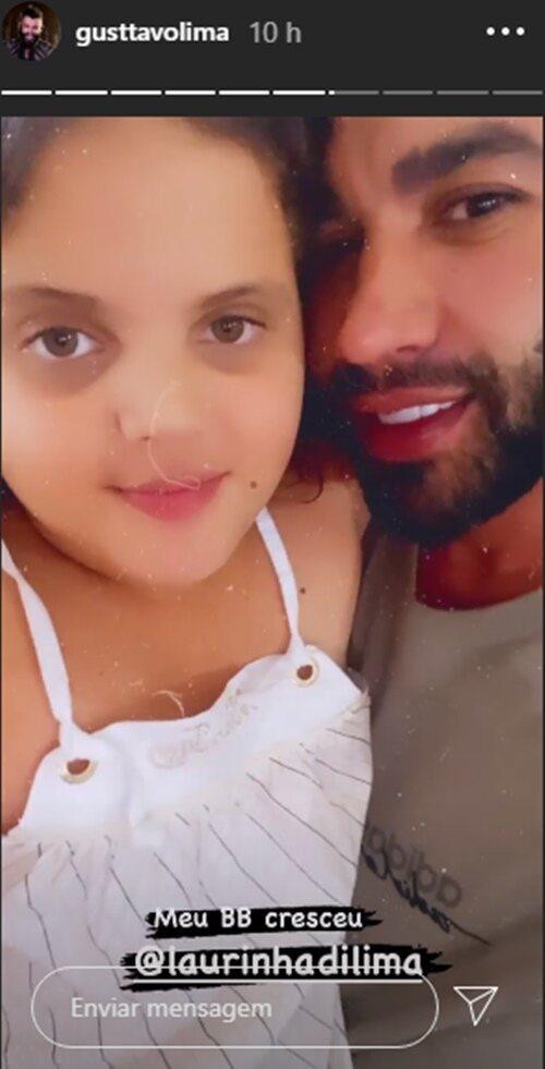 """Gusttavo Lima posa com a filha de criação: """"Meu BB cresceu"""""""