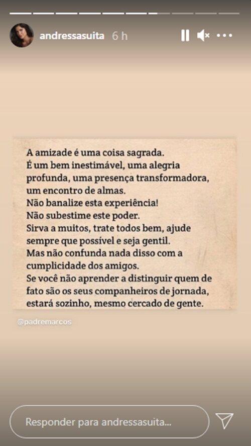 Andressa Suita posta frase sobre amizade e manda suposto recado para Gusttavo Lima: 'Sozinho'