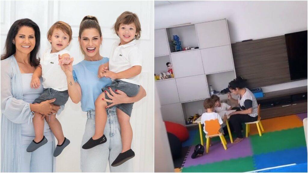 """Andressa Suita mostra os filhos brincando com avó e revela: """"Eles amam quando a vovó chega"""""""