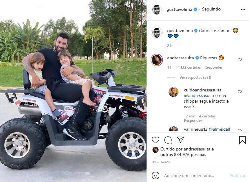 """Andressa Suita se derrete em foto de Gusttavo Lima com os filhos: """"Riquezas"""""""