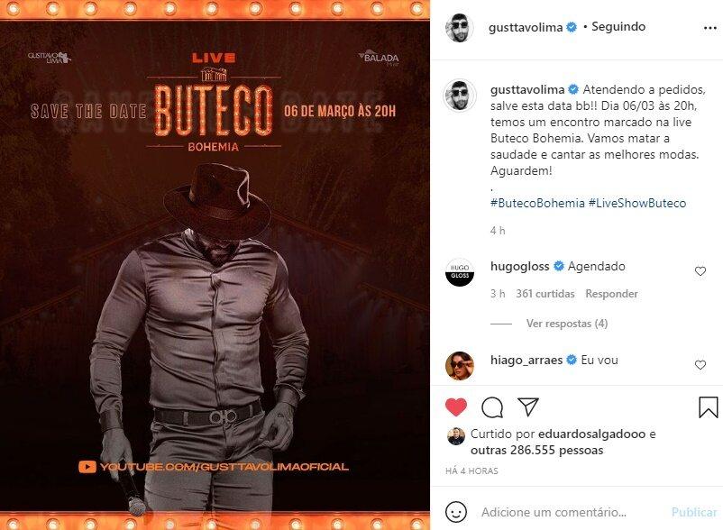 """Gusttavo Lima anuncia live show para o dia 6 de março: """"Vamos matar a saudade"""""""