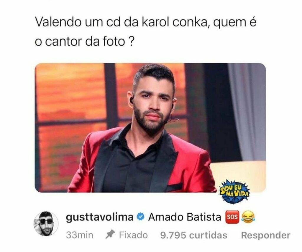 Gusttavo Lima erra em brincadeira sobre BBB 21 para não ganhar cd de Karol Conká