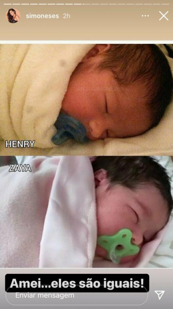 """Após nascimento de Zaya, Simone compara as fotos dos filhos: """"Eles são iguais"""""""