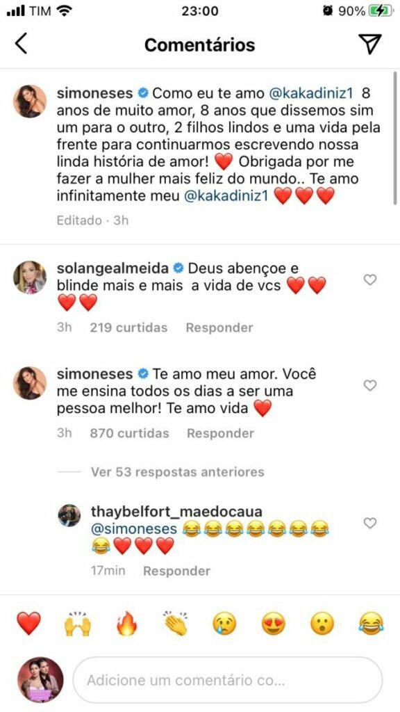 Kaká Diniz se confunde e faz declaração para Simone com perfil da esposa no Instagram