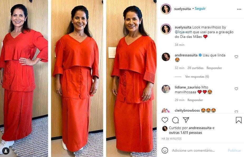 """Mãe de Andressa Suita surge estilosa em gravação do Dia das Mães e ganha elogio da modelo: """"Uau que linda"""""""