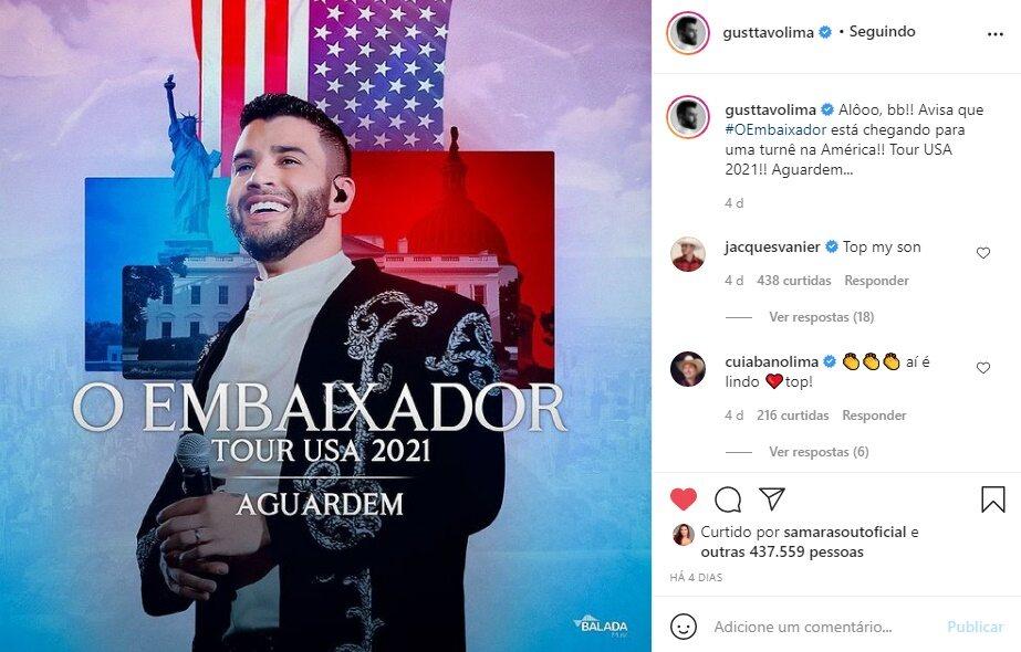 """Gusttavo Lima anuncia turnê nos Estados Unidos: """"Tour USA 2021"""""""