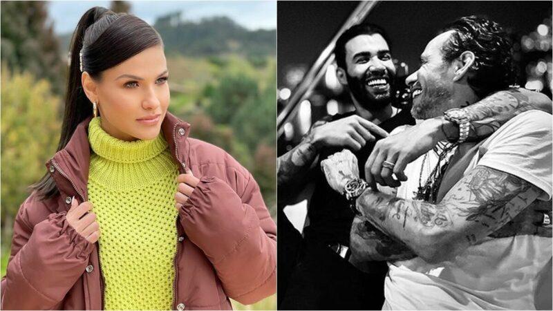 Gusttavo Lima surge com o cantor internacional Marc Anthony e esposa elogia