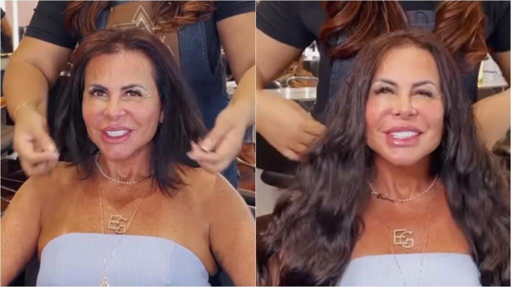 Gretchen muda visual com mega hair e aposta em fios castanhos ondulados