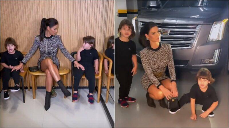Andressa Suita surge com os filhos nos bastidores do show de Gusttavo Lima