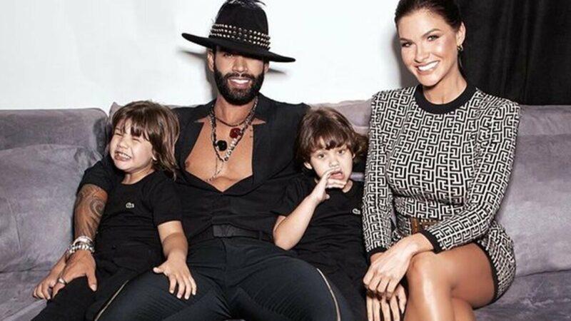 Andressa Suita e Gusttavo Lima aparecem juntos com os filhos nos bastidores do show do cantor em Goiânia